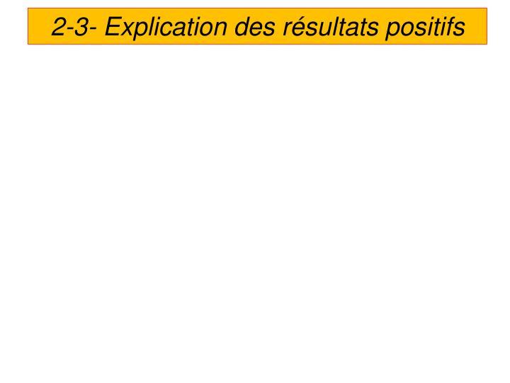 2-3- Explication des résultats positifs