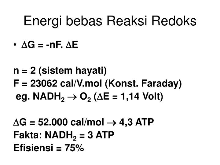 Energi bebas Reaksi Redoks