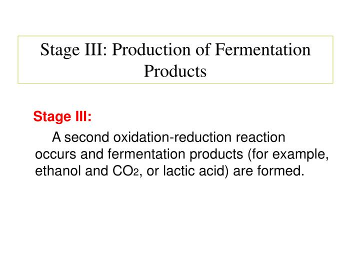 Stage III: Production of Fermentation        Products