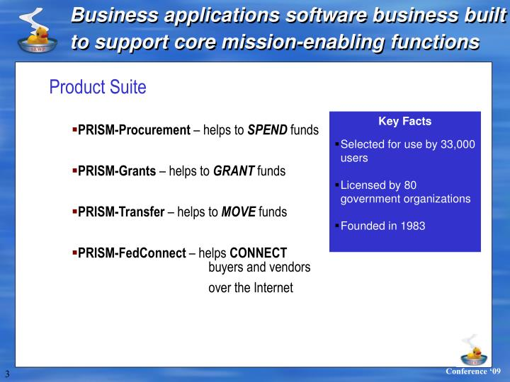 Business applications software business built to support core mission enabling functions