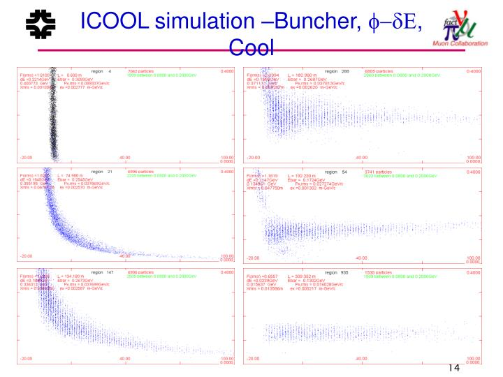 ICOOL simulation –Buncher,