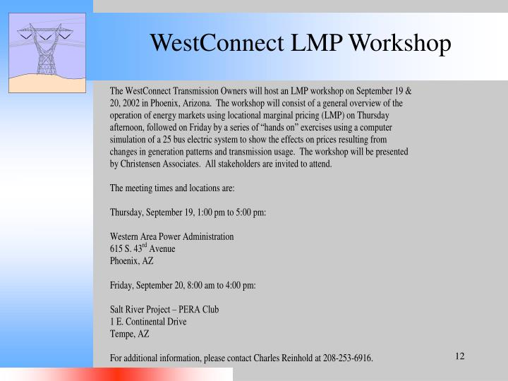 WestConnect LMP Workshop