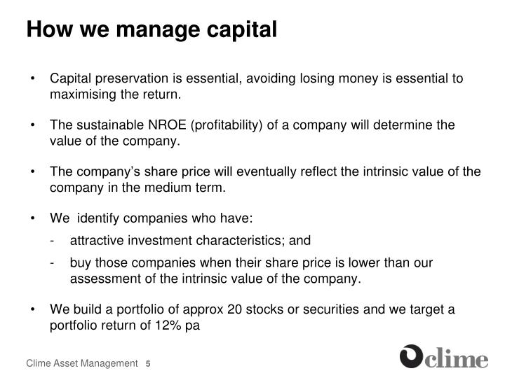 How we manage capital