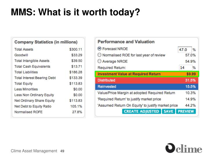 MMS: What is it worth today?