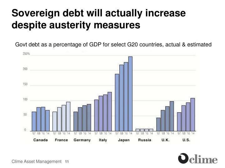 Sovereign debt will actually increase despite austerity measures