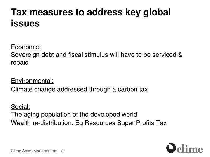 Tax measures to address key global issues