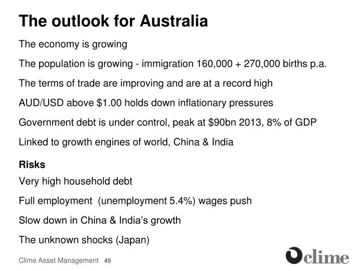 The outlook for Australia
