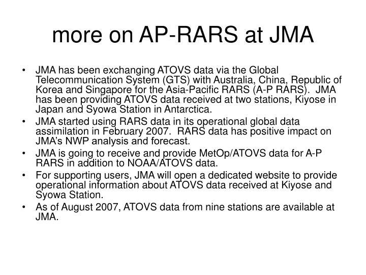 more on AP-RARS at JMA