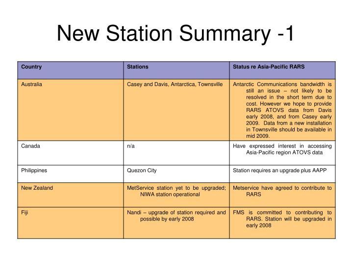 New Station Summary -1