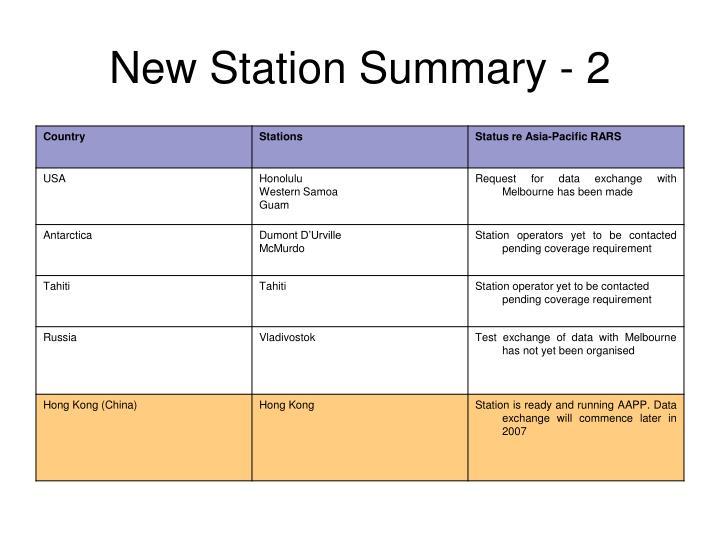 New Station Summary - 2