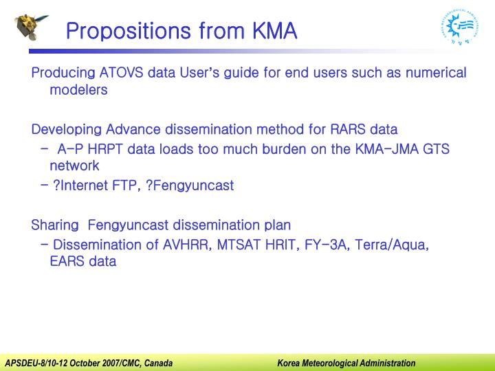 Propositions from KMA