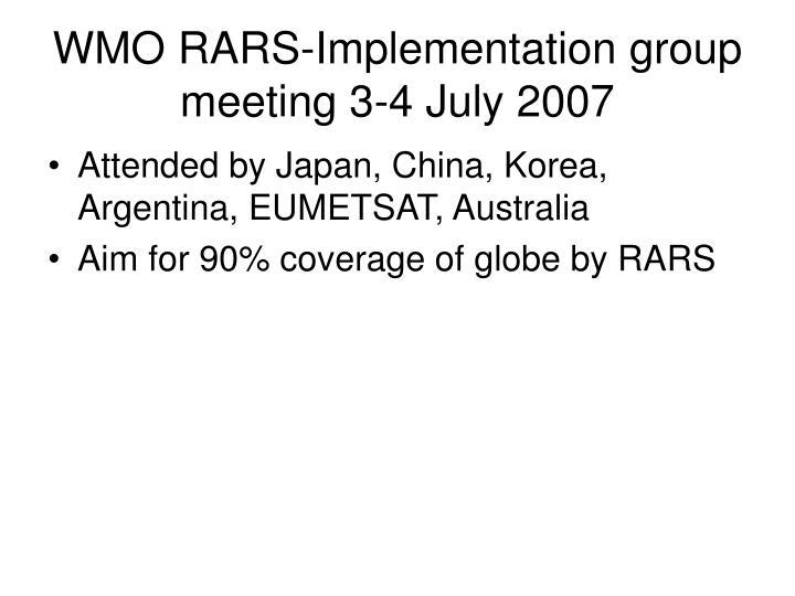 WMO RARS-Implementation group meeting 3-4 July 2007