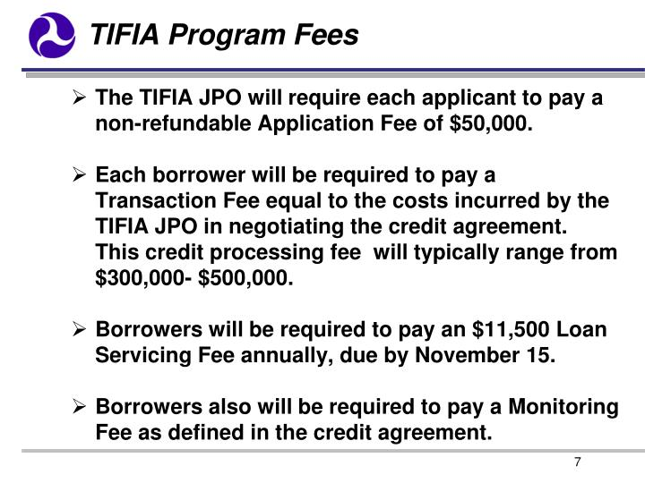 TIFIA Program Fees