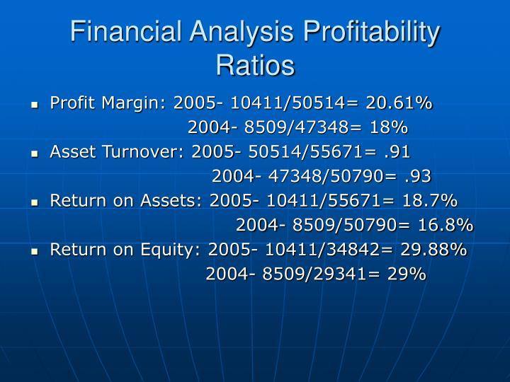 Financial Analysis Profitability Ratios