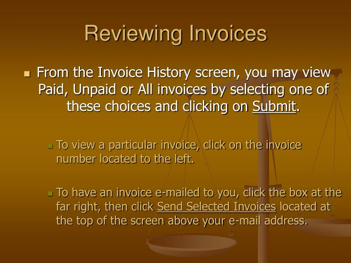 Reviewing Invoices