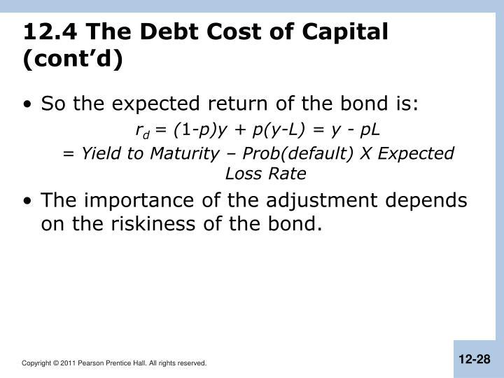 12.4 The Debt Cost of Capital (cont'd)
