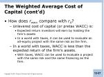 the weighted average cost of capital cont d
