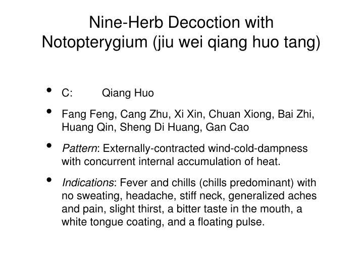 Nine-Herb Decoction with Notopterygium (jiu wei qiang huo tang)