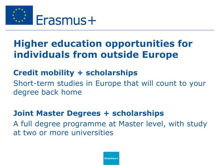 Higher education opportunities for individuals from outside Europe