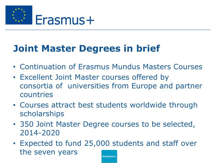 Joint Master Degrees in brief