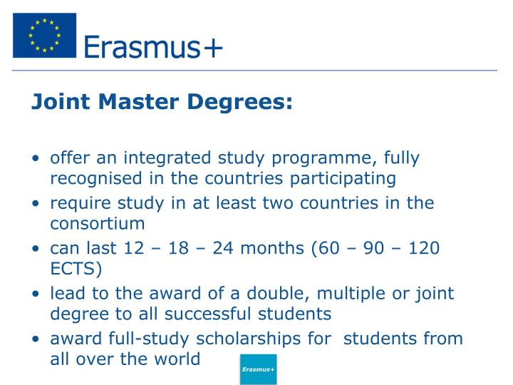Joint Master Degrees: