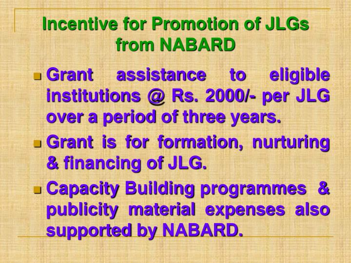 Incentive for Promotion of JLGs from NABARD