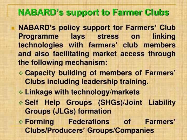 NABARD's support to Farmer Clubs
