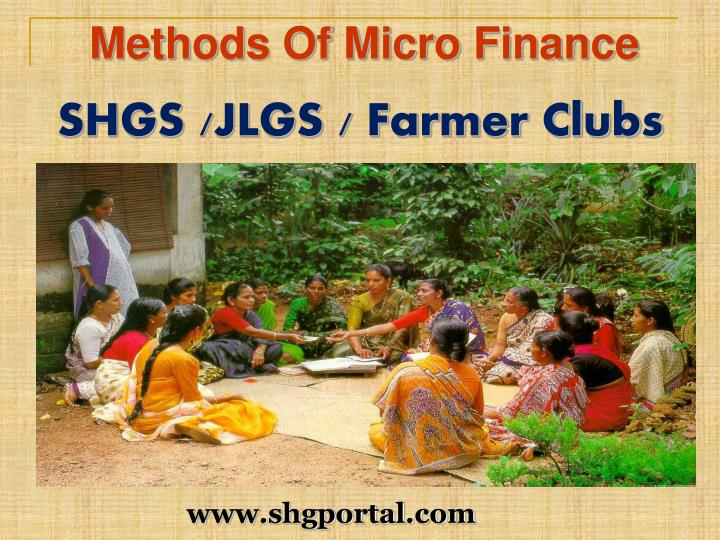 Methods Of Micro Finance