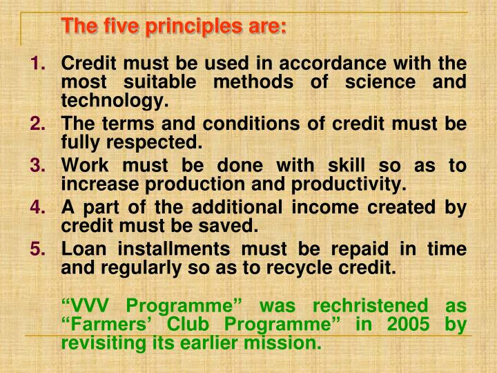 The five principles are: