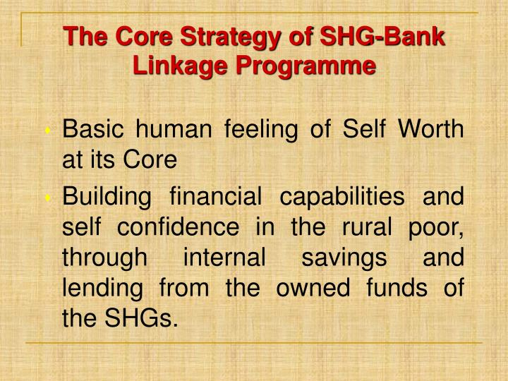 The Core Strategy of SHG-Bank Linkage Programme