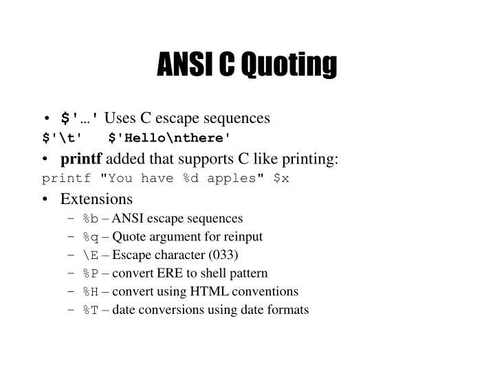 ANSI C Quoting