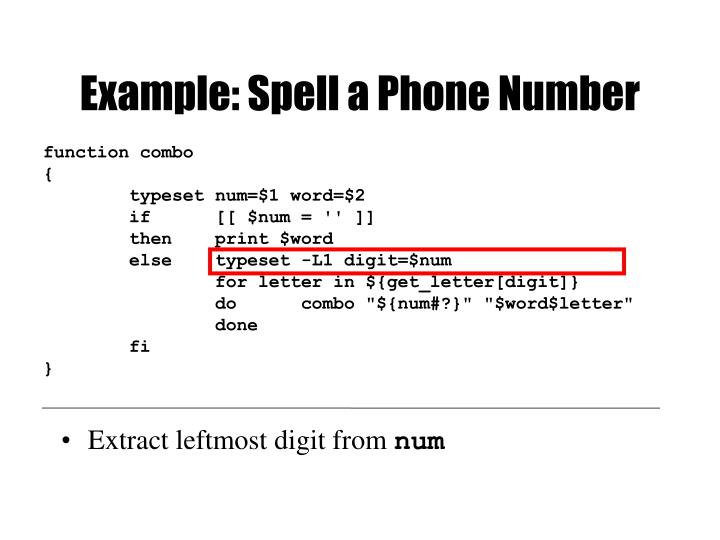 Example: Spell a Phone Number