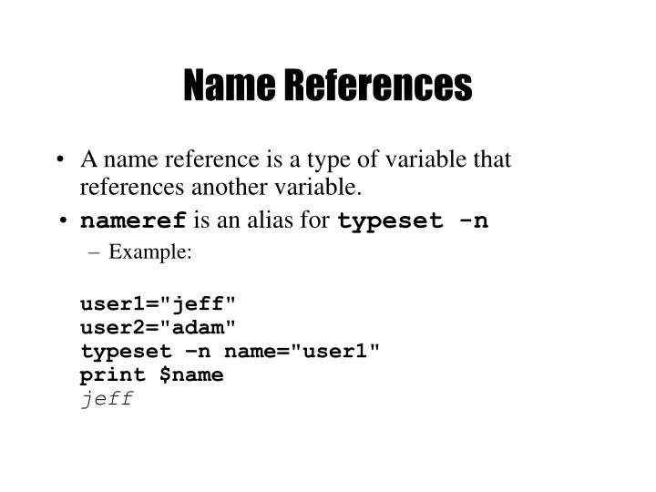 Name References