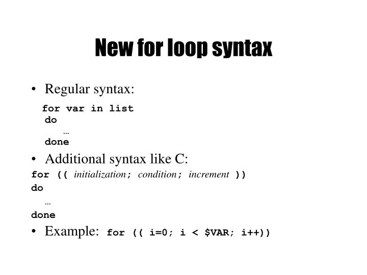 New for loop syntax