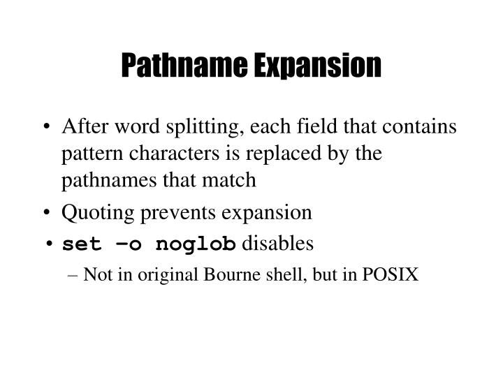 Pathname Expansion