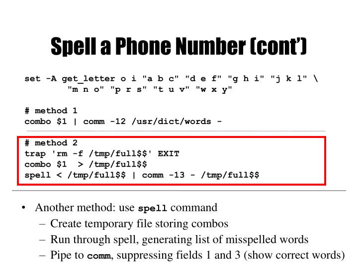 Spell a Phone Number (cont')