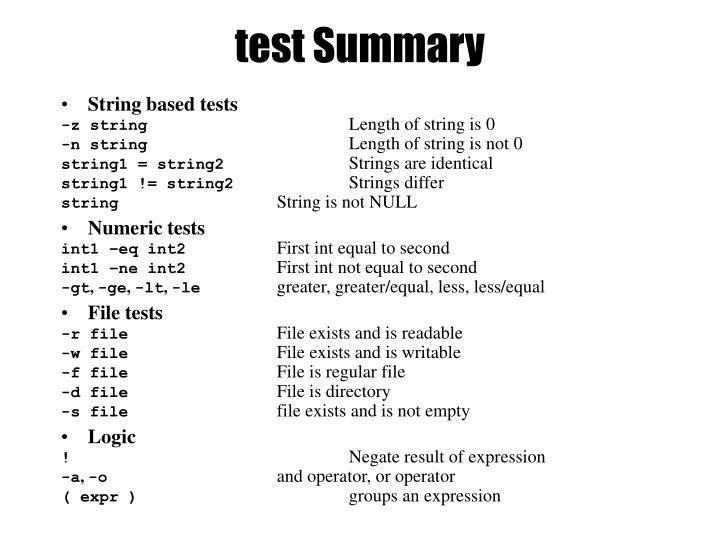test Summary