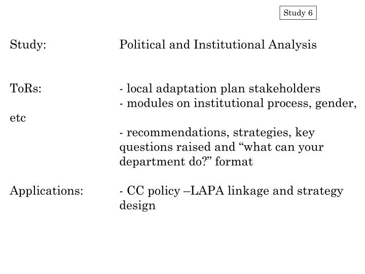 Study:		Political and Institutional Analysis