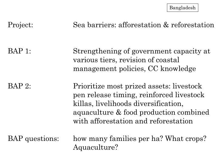 Project:		Sea barriers: afforestation & reforestation