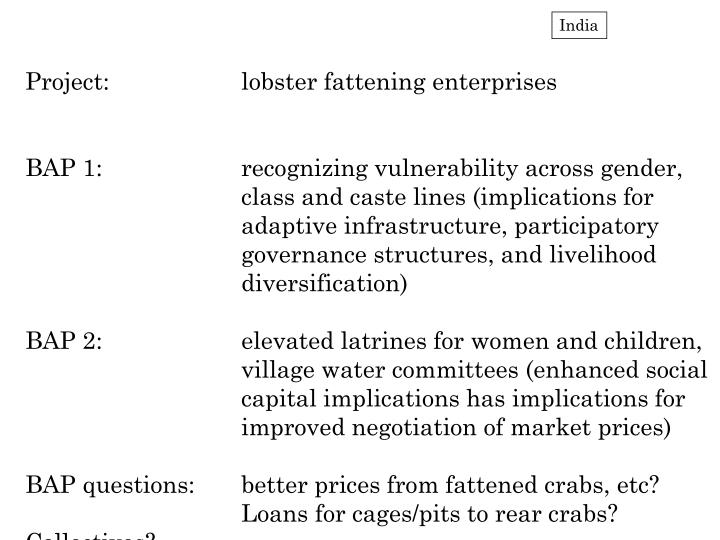 Project:		lobster fattening enterprises