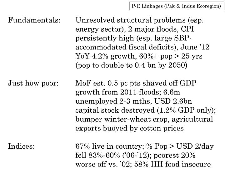 P-E Linkages (Pak & Indus Ecoregion)
