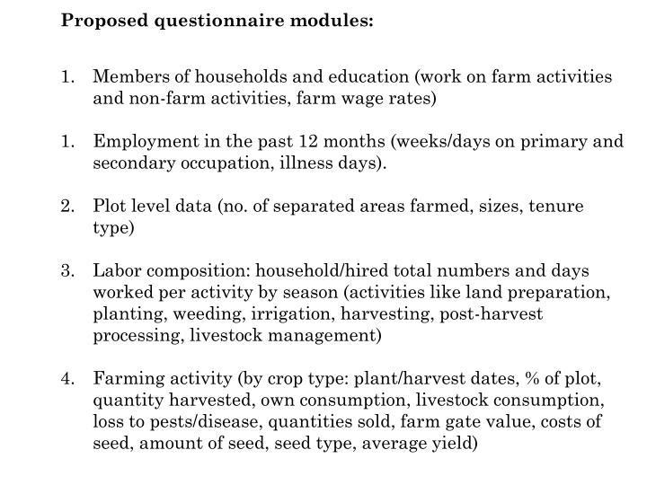 Proposed questionnaire modules: