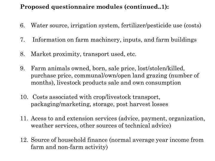 Proposed questionnaire modules (continued..1):