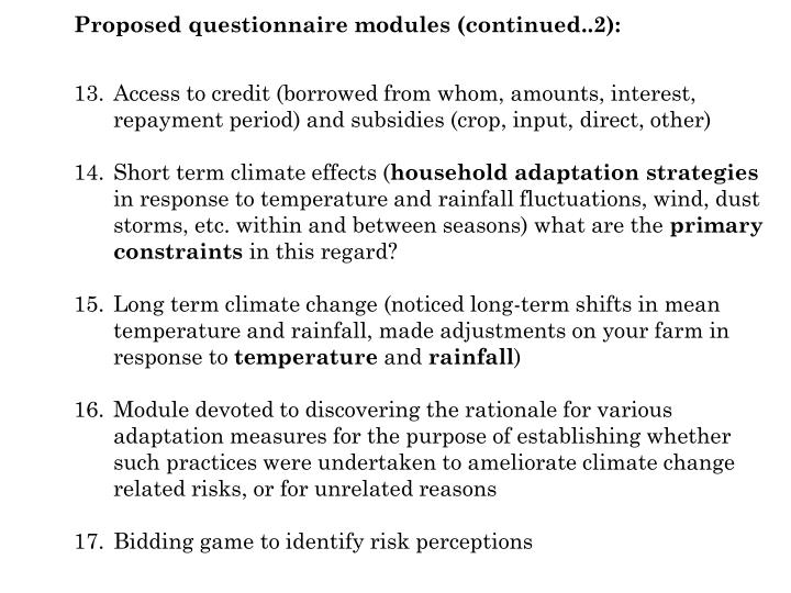 Proposed questionnaire modules (continued..2):