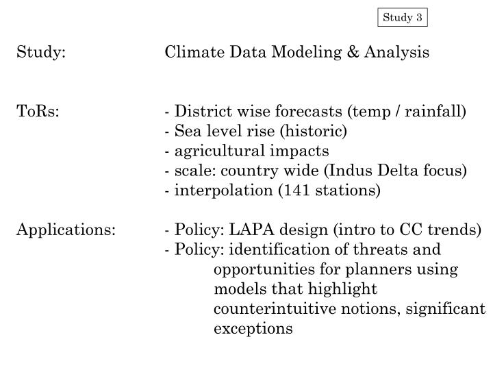 Study:		Climate Data Modeling & Analysis