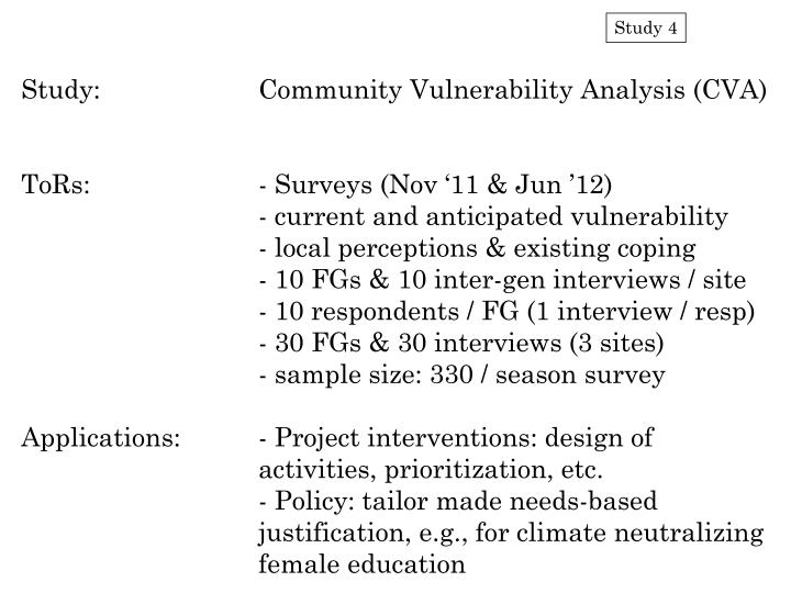 Study:		Community Vulnerability Analysis (CVA)