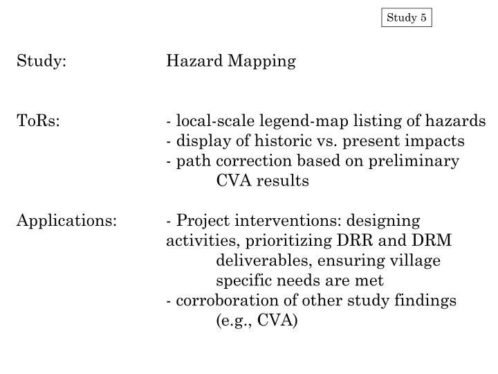 Study:		Hazard Mapping