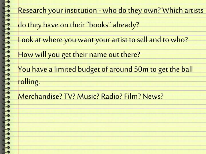 "Research your institution - who do they own? Which artists do they have on their ""books"" already?"