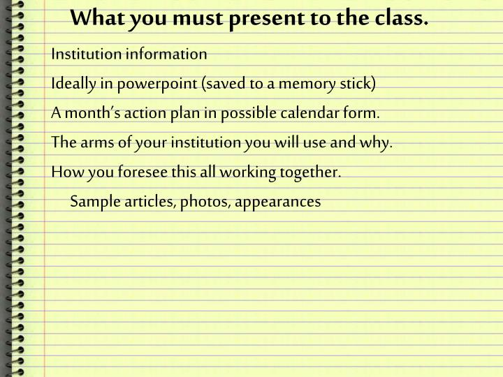 What you must present to the class.