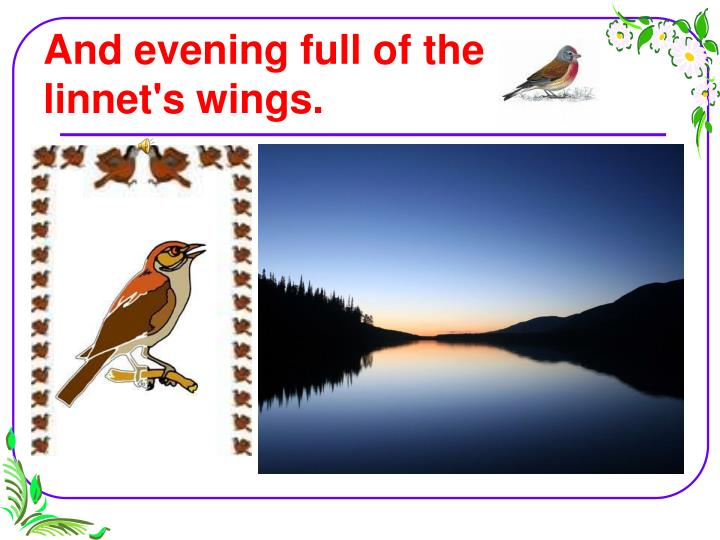 And evening full of the linnet's wings.